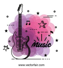 electric guitar with musical notes and stars