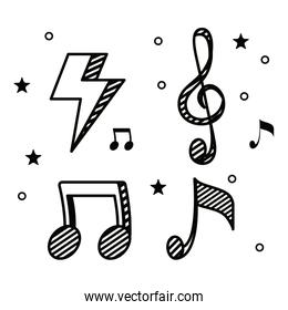 set of thunder with musical melody notes