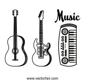 set of guitars with piano play art instruments