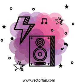 stereo melody with thunder and musical notes