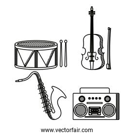 set of drum with violin and saxophone instrument with radio