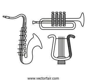 set of saxophone and trumpet with harp instruments