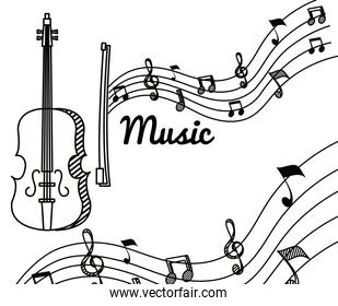 violin with treble clef and quaver with beam notes
