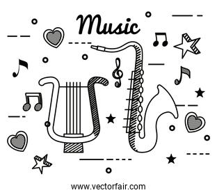 harp and saxophone with treble clef and quaver with beam notes