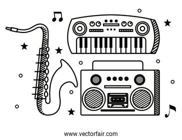 piano with saxophone instrument and art radio