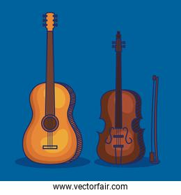 set of violin and guitar instruments style