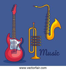 set of electric guitar with trumpet and saxophone instruments