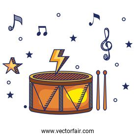drum instrument with treble clef and quaver with beam notes