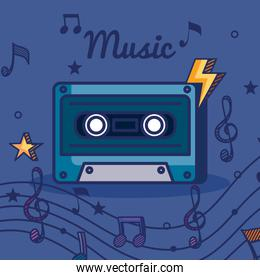 cassette with treble clef and quaver with beam notes