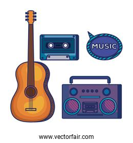 set of guitar instrument with play radio and cassette