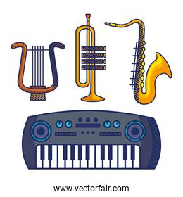 set of harp with trumpet and saxophone with piano instruments