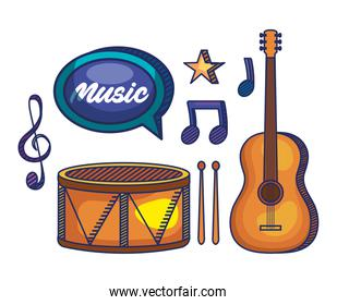 set of drum with guitar and treble clef with quaver and beam notes