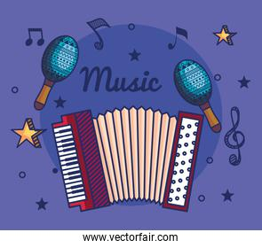 accordeon and maracas instruments with treble clef and quaver with beam notes