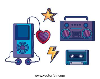 set of radio with mp4 and cassette with heart and star