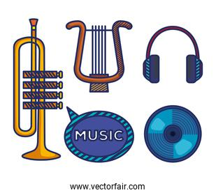 set of trumpet with harp and cd with headphones