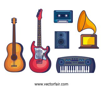 set guitars with piano and cassette with stereo and turntable