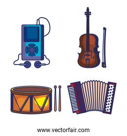 set of mp4 with violin and drum with accordeon instruments