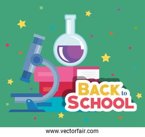erlenmeyer flask with microscope and books elementary