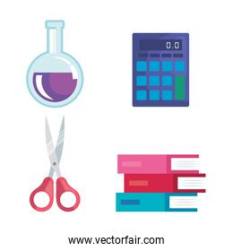 set of erlenmeyer flask with calculator and scissors and books