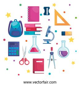 set of school supplies and education elementary