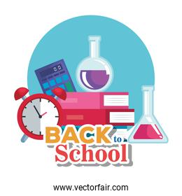 books with erlenmeyer flask and calculator with clock alarm
