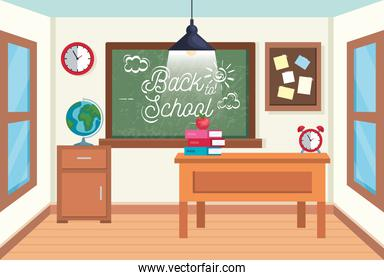 classroom with blackboard and note board with books and apple