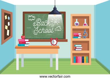 classroom with blackboard and desk with books and apple