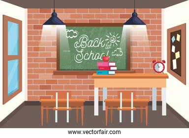 classroom with blackboard and desk with apple and books