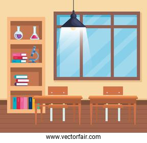 books with erlenmeyer flask and microscope with window in the classroom
