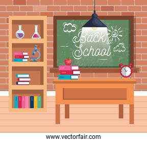 blackboard and bookcase with erlenmeyer flask and books with microscope