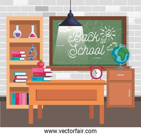 blackboard with books and erlenmeyer flask in the classroom