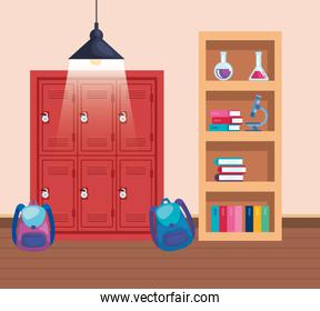 lockers with backpacks and books with erlenmeyer flask