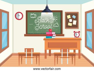 education classroom with blackboard and desks with note board