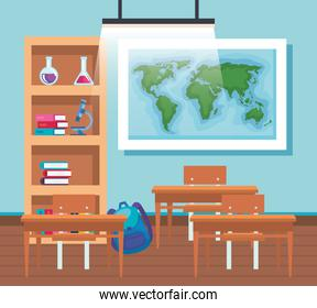 global map with bookcase and desks in the education classroom