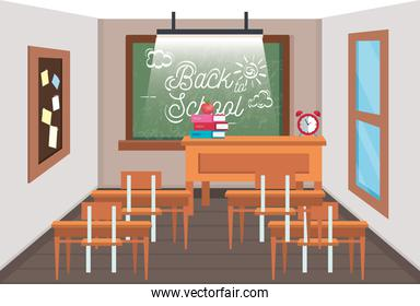 education classroom with blackboard and note board
