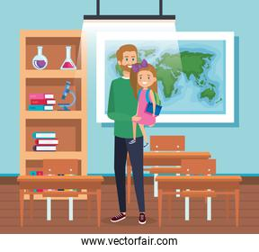 fathers with girl student and books with desk and backpack