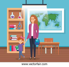 mother with girl student with books and global map
