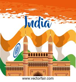 india flag with architecture national patriotism