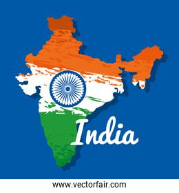 patriotism india map and national flag