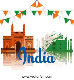 india architecture with taj mahal and party banner