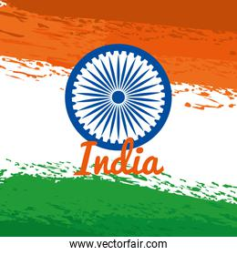 india emblem with national flag poster