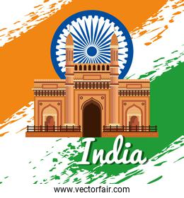 india emblem with architecture and traditional flag