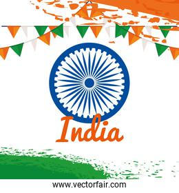 patrotism india emblem with party banner