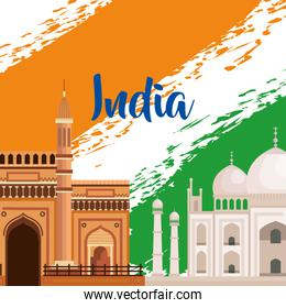 india flag with architecture and taj mahal