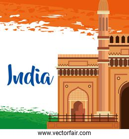 india traditional flag with architecture and holiday