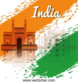 india flag poster with architecture decoration