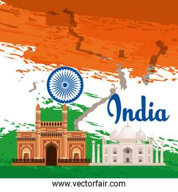 india emblem and flag with architecture and taj mahal