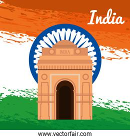 india emblem with architecture and tradional flag