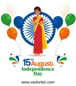 india woman with emblem and balloons decoration