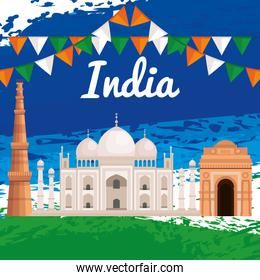 taj mahal with party banner and architecture